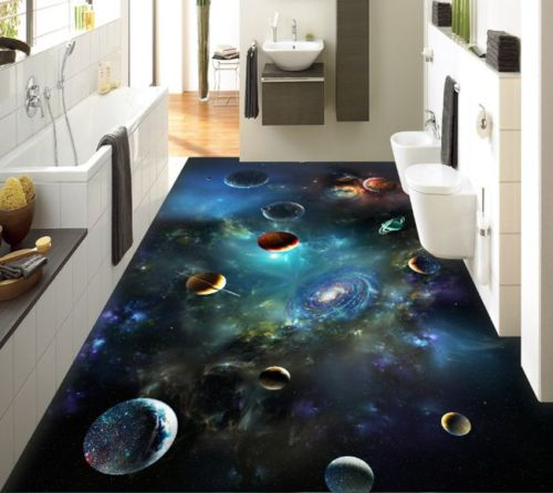 [Self-Adhesive] 3D Universe Planet Space 4 Non-slip Waterproof Photo Self-Adhesive Floor Mural Sticker WallPaper Murals Print