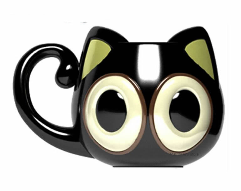 Cute Big Eyes Kitty Ceramic Mug 500ML Personalized Cat Large Capacity Animal Great Cartoon Coffee Cup Black taza de m&m