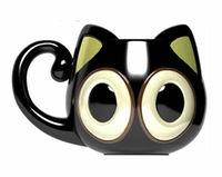 Cute Big Eyes Kitty Ceramic Mug 500ML Personalized Cat Large Capacity Animal Great Cartoon Coffee Cup Black