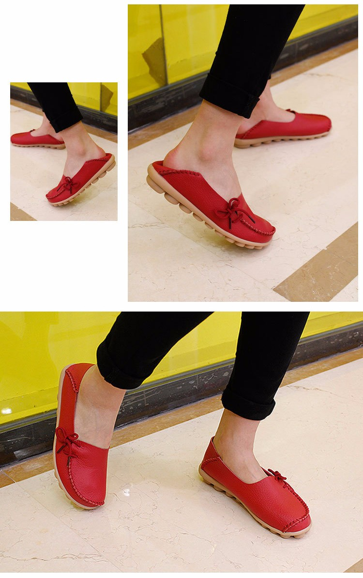 2016 New Real Leather Woman Flats Moccasins Mother Loafers Lacing Female Driving Casual Shoes In 16 Colors Size 34-44 ST179 (21)