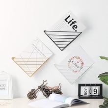 1Pcs Wall Storage Rack Nordic Creative Simple Living Room Hanging Iron Triangle Bookshelf Decorations