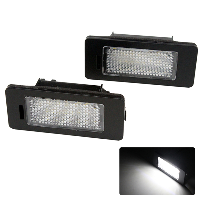 2X Car LED 24SMD License Plate Light Number Plate Lamp 12V for Skoda Fabia Superb Yeti 2x 12v bright 3leds license plate light lamp bulbs number plate light for motorcycle boats aircraft automotive trailer rv truck