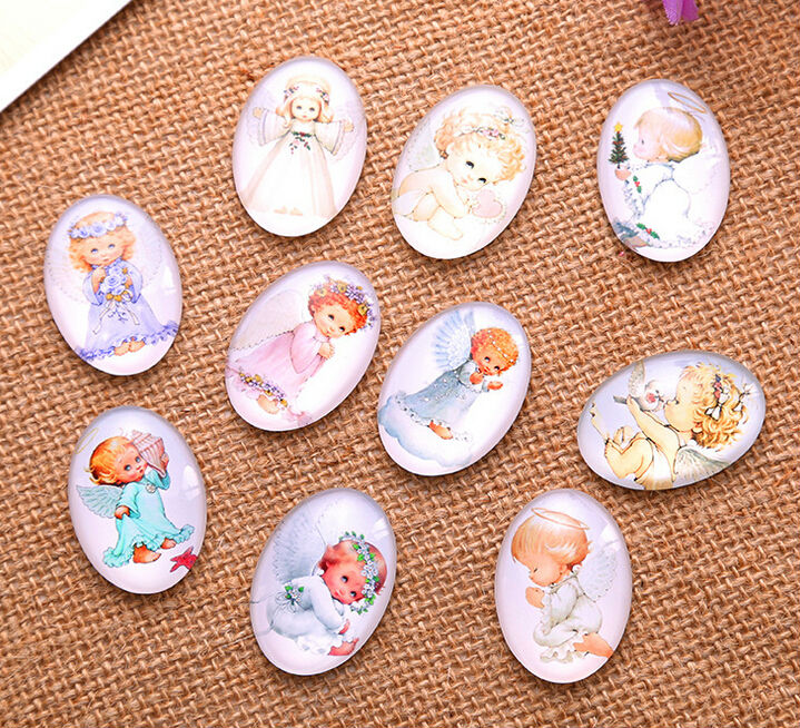 13*18/18*25/30*40mm little Angel baby pattern ellipse Handmade Photo Glass Cabochons & Glass Dome Cover Pendant Cameo Settings(China)