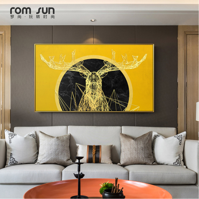 Modern Abstract Yellow Deer Canvas Painting Art Wall Pictures For ...
