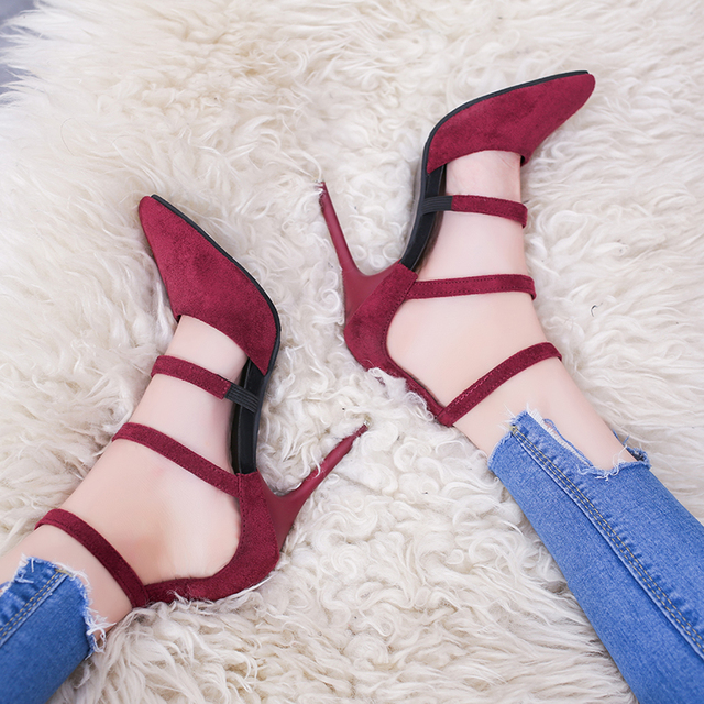 2018 Spring New Women's Shoes European and American Fashion Sexy High Heels Pointed Suede Hollow Work Shoes Simple Single Shoes Pumps