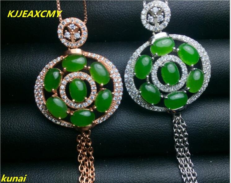 Kjjeaxcmy бутик Jewels Серебро 925 Natural Green Jade ожерелье отправить женский кисточкой ...