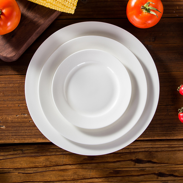 Bone china flat plates western-food plate pure white bone china plates round shape 6 & Bone china flat plates western food plate pure white bone china ...