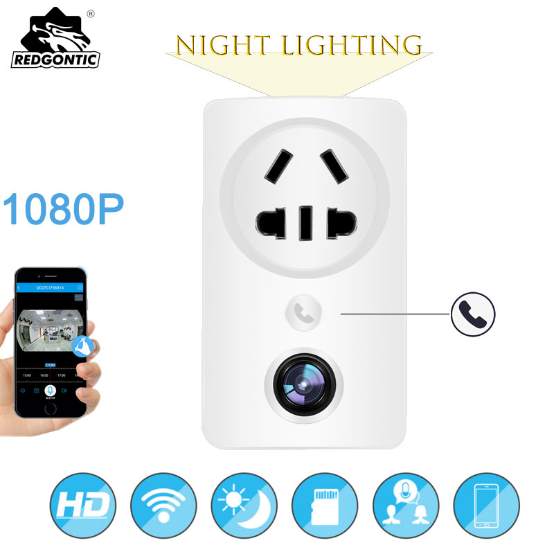 180 Degree Panoramic 1080P WIFI IP Camera CCTV Wireless Cloud Storage Home Security USB Wall Socket Charger Adapter Night light