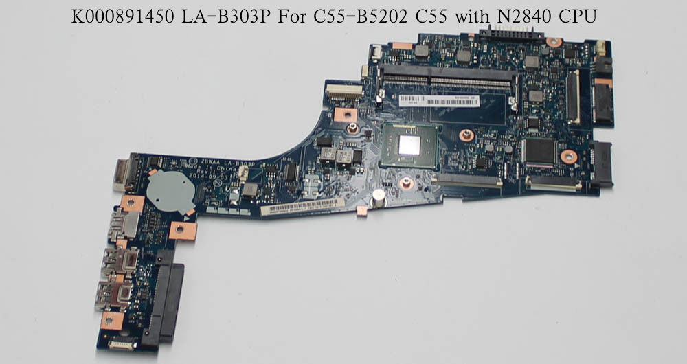Free Shipping New for Toshiba Satellite C55-B5202 C55 ZBWAA LA-B303P K000891450 Motherboard with N2840 CPU combbind c55