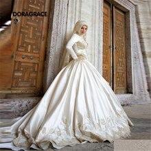 Custom Made Romantic Applique Saudi Arabia Muslim Long Sleeve Wedding Gowns Designer Wedding Dresses DG0079