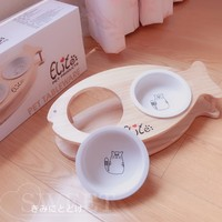 Pet Ceramic Bowl Fish shaped Solid Wood Frame Double Bowl Oblique Mouth Food Bowl Flat Face Cat Dog Feeder Pet Supplies