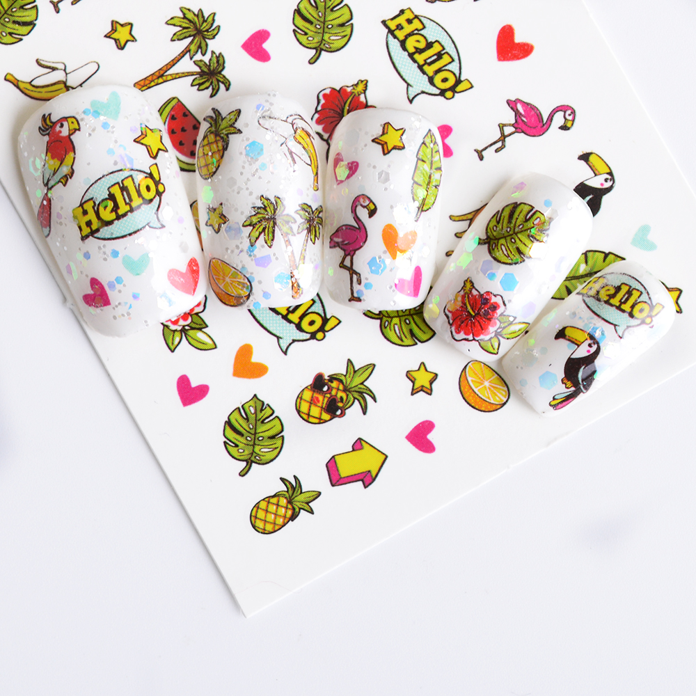 1pcs Summer Partten Nail Art Sticker Water Decals Lovely Cartoon Food Nail Wraps Slider for Nail Art Tattoo Decoration BEWG299 in Stickers Decals from Beauty Health