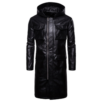 2019 Autumn and Winter new Long Windproof Leather European style Male Motorcycle Leather Black jacket Size S M L XL XXL