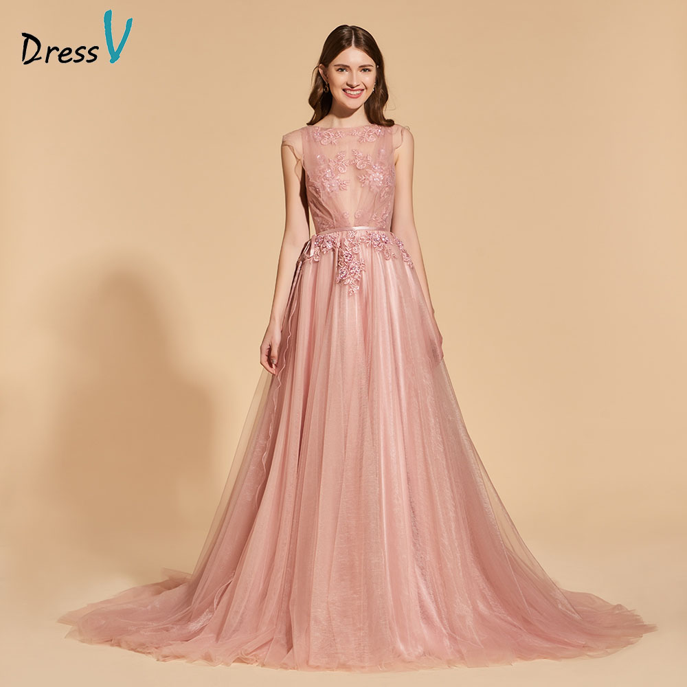 Dressv   prom     dress   scoop neck a line sleeveless beading bowknot lace sashes button evening party gown   prom     dresses   customize