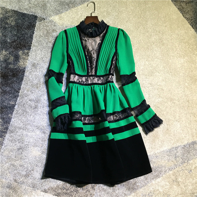 women fashion green patchwork black lace dress stand collar long sleeve ball gown christmas party dresses