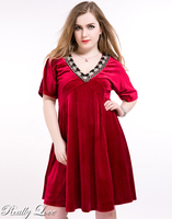 Cute Ann Women's Sexy V-neck Plus Size Velvet Party Dress Red Short Sleeve Lace Patchwork A-line Swing Dress Autumn Wear