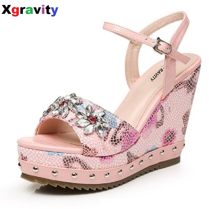 Buckle Shoes Lady Fashion High Heel Footwear Ladies Casual Rhinestone Flower Design Platform Pumps Summer Crystal Shoes B288 xiaying smile summer new woman sandals platform women pumps buckle strap high square heel fashion casual flock lady women shoes