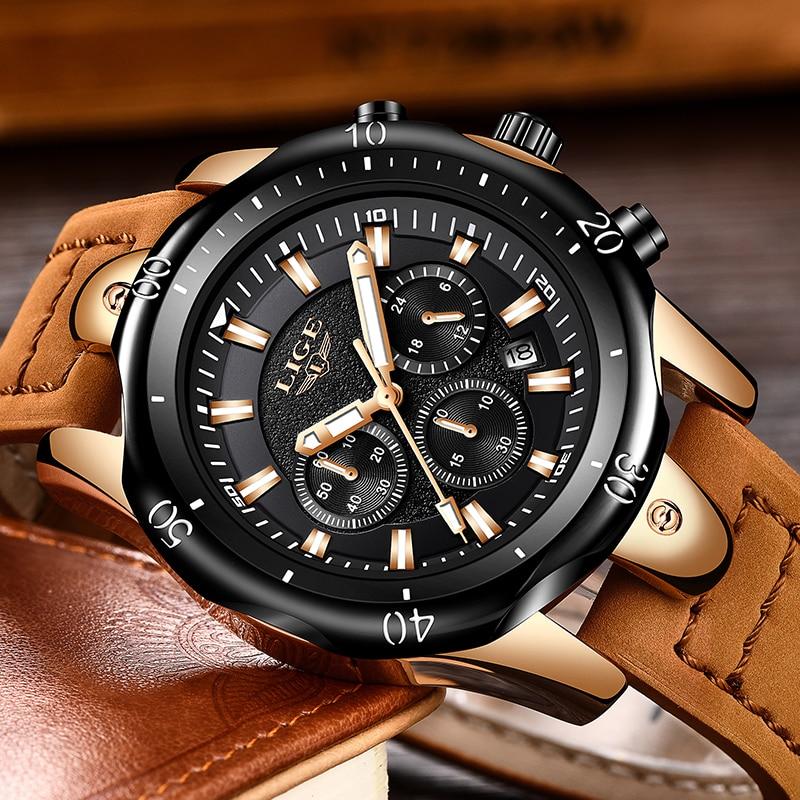 2018 New Men Watch márka LIGE férfi vízálló Sport Quartz órák - Férfi órák