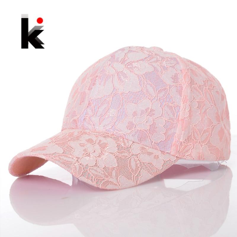 Women's Baseball Caps Lace Sun Hats Breathable Mesh Hat Gorras Summer Cap For Women Snapback Casquette