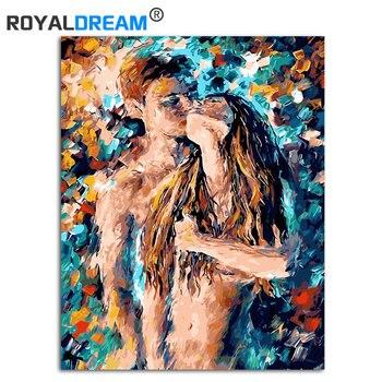 """Sexy Kiss streszczenie obraz olejny farba DIY według numeru zestaw kolorowanie według numerów malowanie na płótnie oprawione 16x20"""""""