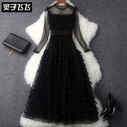 Maille Dentelle Long Vêtements Noir Automne Robe Perspective 2019 Sexy 1 Nouveau Femmes De 6q8nw0