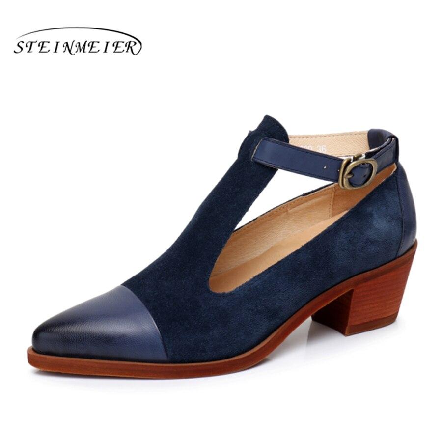 Ayakk.'ten Orta Topuklu'de 100% Hakiki deri yinzo tasarımcı vintage sandalet ayakkabı Pompaları sivri burun el yapımı kahverengi mavi kırmızı oxford ayakkabı kadınlar için 2019'da  Grup 1
