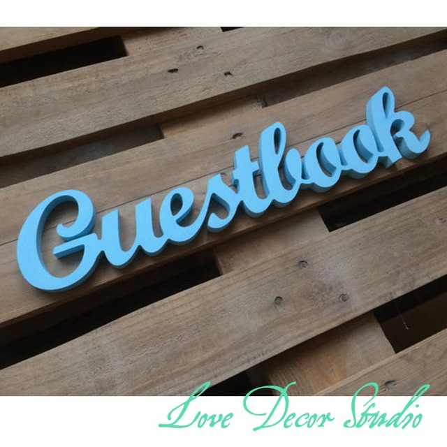 wedding reception guestbook sign unpainted guest book script wooden letters