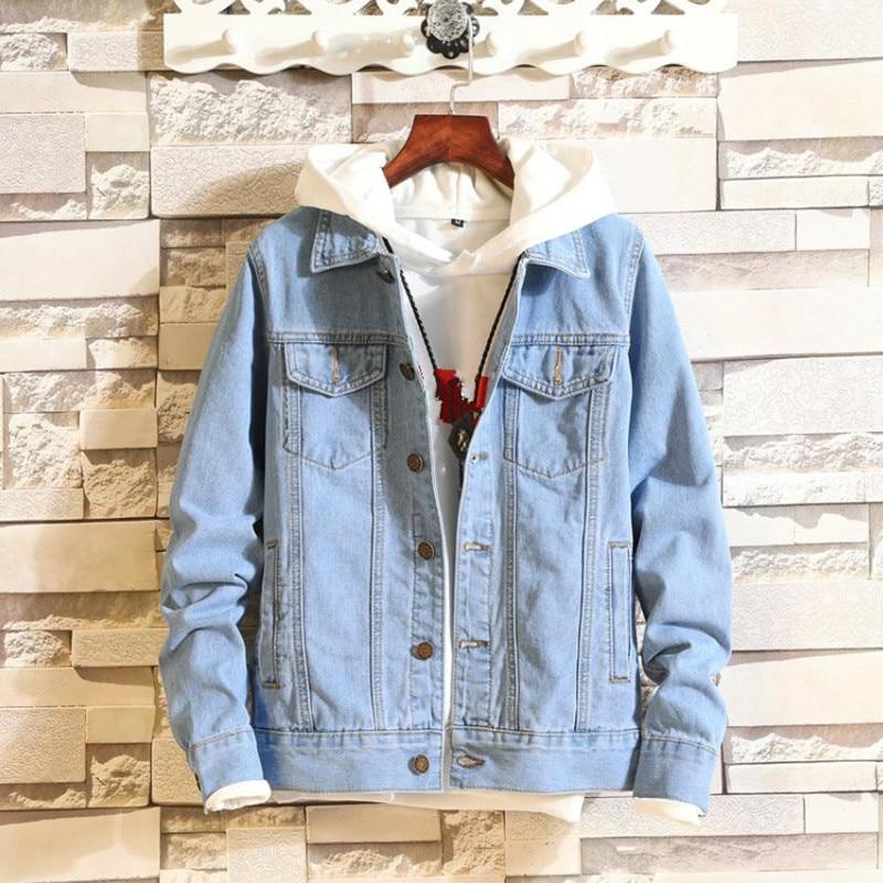 2018 Denim veste hommes automne mode Jeans veste manteau hommes Slim Fit manteaux décontractés outwear jeans veste et manteaux 4XL