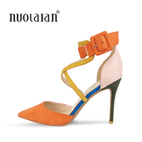 Top Quality Women Pumps Ankle Strap Thin High Heels 2018 New Fashion Luxury Women Shoes Wedding