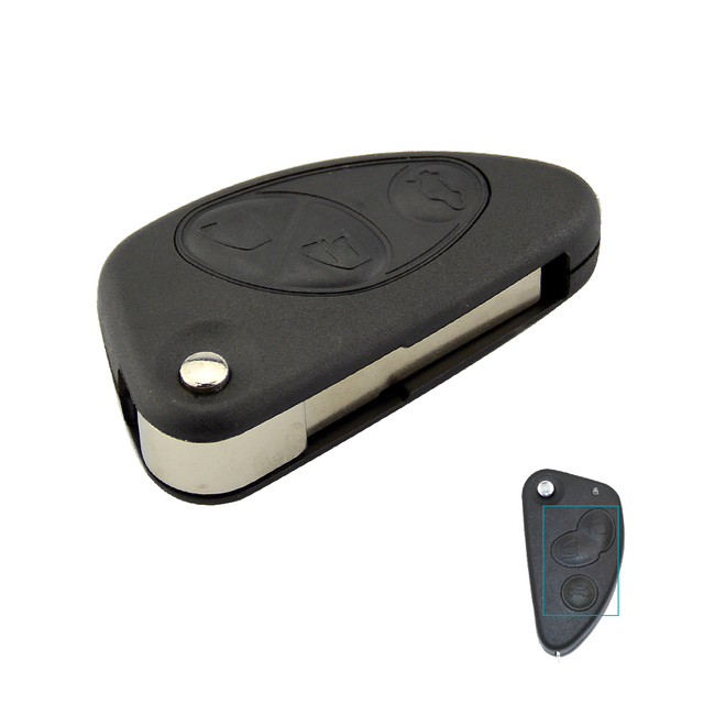 OkeyTech Flip Remote Car Key Shell for Alfa Romeo 147 156 GT 2 3 Buttons Uncut Blade Blank Replacement New Quality Case