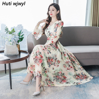 2019 Vintage 3XL Plus Size Long Sleeve Dresses Autumn Winter White Floral Chiffon Midi Dress Elegant Women Bodycon Party Vestido