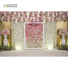 Laeacco Wedding Flower Backdrops Pink Rose Wall Bridal Stage Tassel Portrait Photographic Backgrounds Photocall Photo Studio
