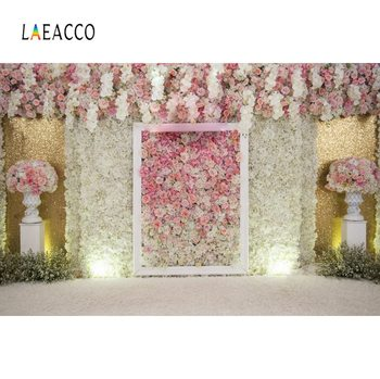 Laeacco Wedding Flower Backdrops Pink Rose Wall Bridal Stage Tassel Portrait Photographic Backgrounds Photocall Photo Studio laeacco pink unicorn birthday party star baby poster portrait photographic backgrounds photo backdrops photocall photo studio