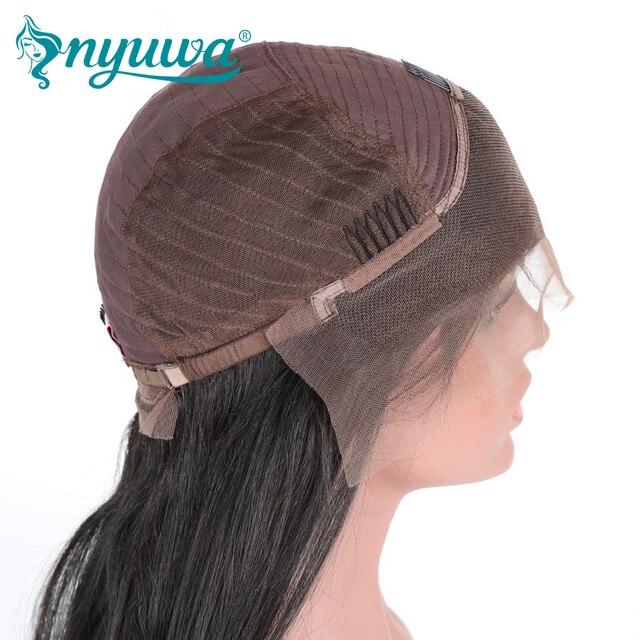 NYUWA Droite Avant de Lacet Perruques de Cheveux Humains Pré Pincées Avec bébé Cheveux Sans Colle Avant de Lacet Perruques Noeuds Blanchis Brésiliens Remy cheveux 5