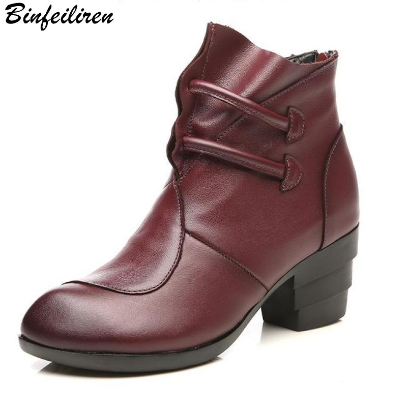 Binfeiliren Women Leather Ankle Boots 6 CM High Heels Winter Warm Shoes Women Retro Style Handmade Women Martin Boot Pointed Toe 2018 fashion winter shoes cow suede high heels solid pointed toe zipper handmade warm european style sweet women ankle boots l26