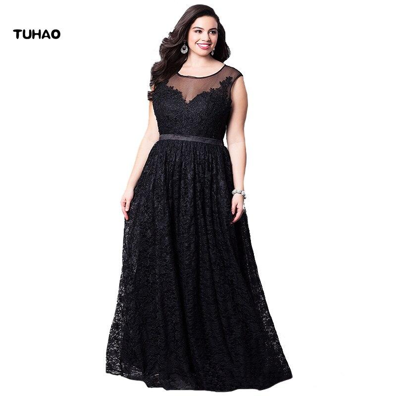 TUHAO sexy black Elegant large size Maxi Long Dress 5XL 3XL 4XL Woman  Dresses runway Party ... 094a8ffd482b