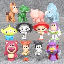 12pcs/set Toy Story 4 Woody Buzz Lightyear Jessie Bunny Ducky Horse Lotso King soak Action Model Figure Toys Gifts 5cm
