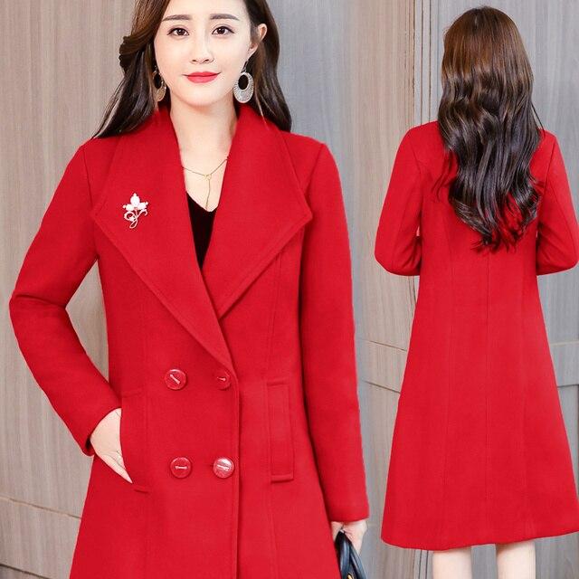 Plus Size 4XL Vintage Winter Coat Women Double-Breasted Elegant Long Wool Coat Abrigo Mujer Autumn Woolen Coat Warm Parka C4892 3