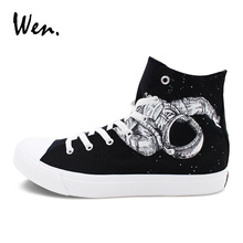 Wen Black High Top Hand Painted Shoes Original Design Spaceman Astronaut Universe Graffiti Shoes Painting Skateboarding Sneakers
