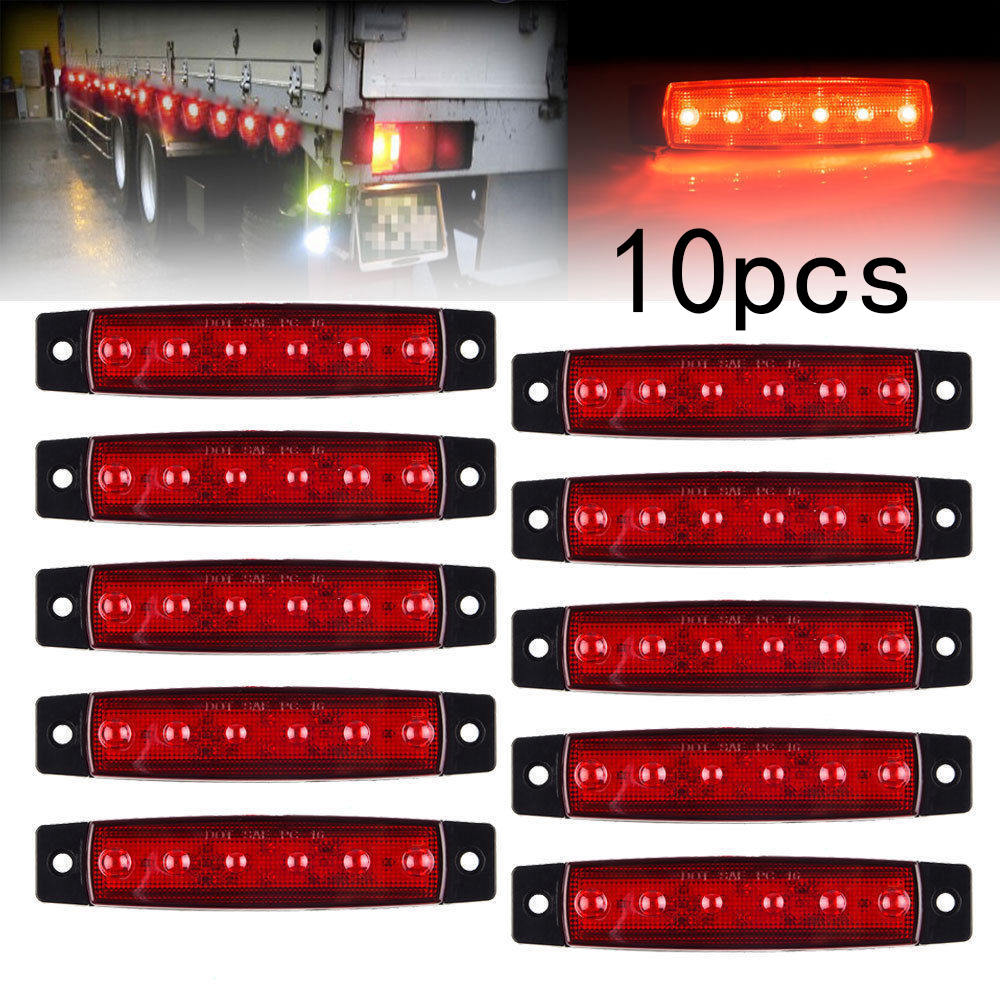 10Pcs 12V 6 LED Side Marker Indicators Lights Lamp Bar Truck Trailer Lorry Red