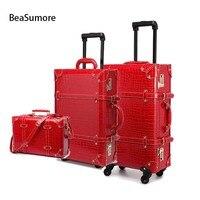 BeaSumore Ретро Крокодиловая Кожа PU прокатки багажные наборы Спиннер для женщин пароль чемодан колеса 20 дюймов кабина винтаж тележка
