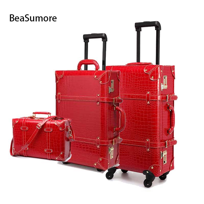 BeaSumore Retro Crocodile PU Leather Rolling Luggage Sets Spinner Women Password Suitcase Wheels 20 Inch Cabin Vintage Trolley