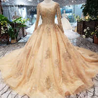 HTL258 A-line evening dresses 2019 new fashion o-neck long sleeves handmade crystal prom dresses with train promotion discount