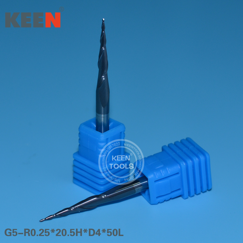 R0 25 20 5H D4 50L 2 Flutes Taper Ball Nose Coated Tungsten Carbide End Mill