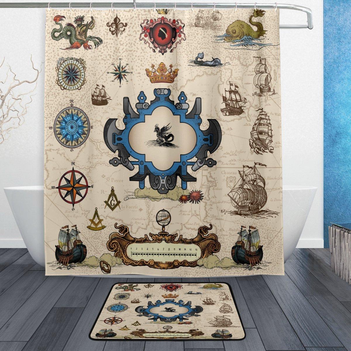 Vintage Map Compass Sailboat Waterproof Polyester Fabric Shower Curtain with Hooks Doormat Bath Floor Mat Bathroom Home Beige