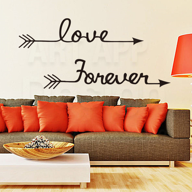 Art Design Home Decoration Vinyl Love Forever Words Wall Stickers Colorful Pvc Arrow Decals For House