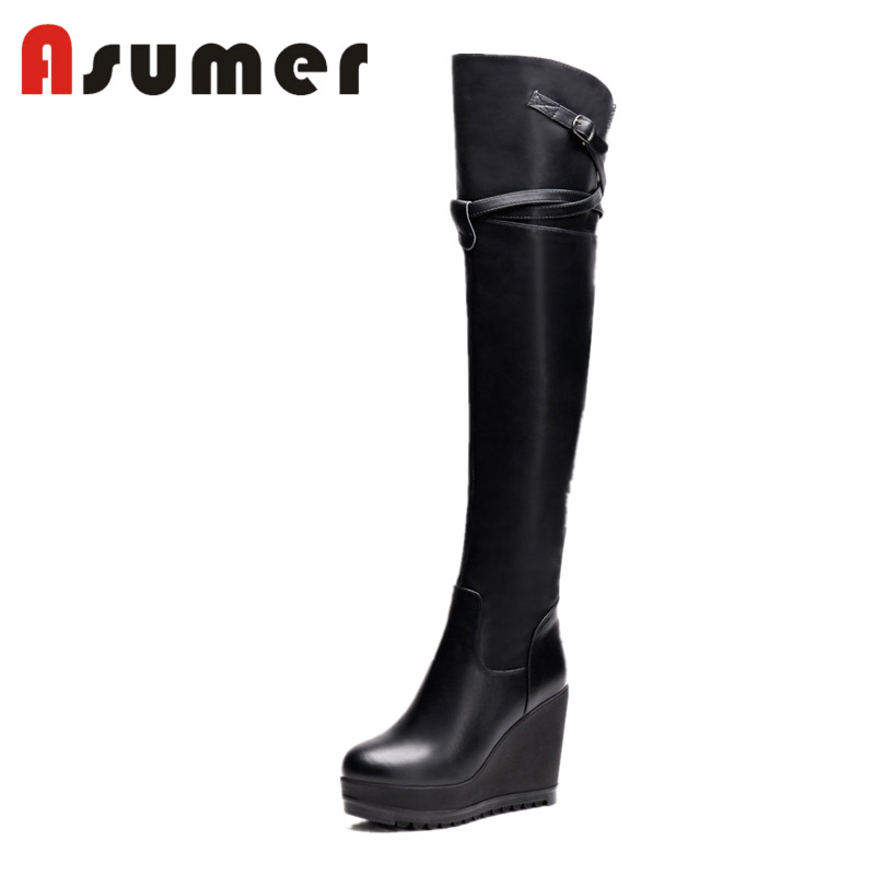 ASUMER NEW 2018 round toe over the knee boots for women black simple genuine leather boots metal decoration zip winter boots riding winter boots feathers 2015 new fashion korean metal decoration genuine leather elevator pull on pure color round toe