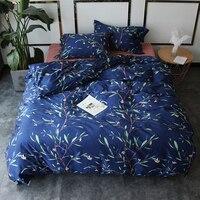 Papa Mima Egyptian Cotton Bedlinens Queen King Size Bedding Set Bamboo Leaf Print Flat Sheet Duvet
