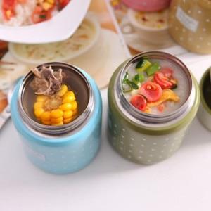 Image 3 - 350ml Material de calidad alimentaria termo taza plegable cuchara guiso sopa termo portátil Termos bueno para la familia tomar el almuerzo