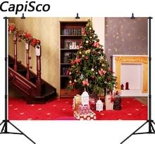 Capisco Stairs Christmas Tree Bookshelf Decoration Photography Backgrounds Customized